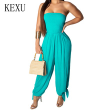 KEXU Fashion Sexy Strapless Loose Jumpsuit Elegant Off Shoulder Sleeveless Orange Romper Summer Casual High Streetwear Playsuit