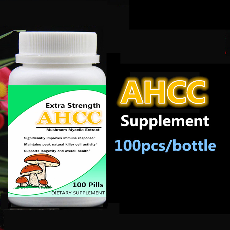 AHCC Supplement Extra Strength Mushroom Mycelia Extract Immune System Support Maintain Cell Activity 100pcs/bottle free shipping siberian chaga mushroom extract 100pieces bottle boost your energy level support your immune system free shipping