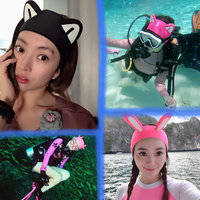 hair protection ear, swimming cap, diving modeling headgear, cartoon ear muff.Cartoon diving hood for children and adults