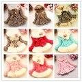 De varejo de vestuário com arco outono inverno vestir roupas de bebê crianças outerwear jaqueta dress meninas faux leopard pele de raposa gola do casaco