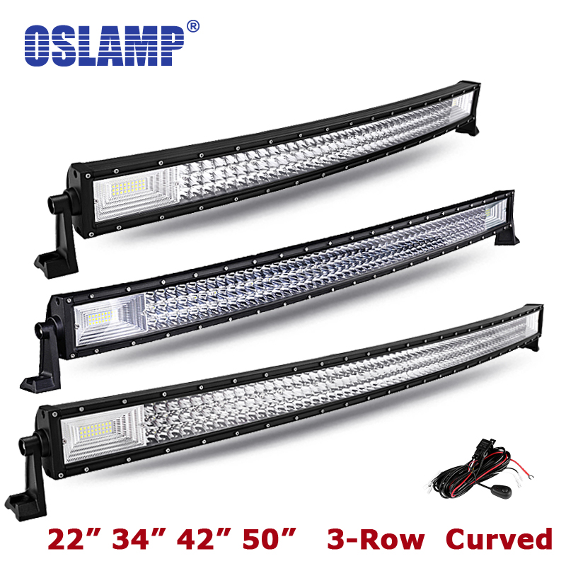 Oslamp 22 34 42 светодио дный изогнутый СВЕТОДИОДНЫЙ световой бар 50 комбинированный луч трехрядсветодио дный ный светодиодный рабочий свет для...