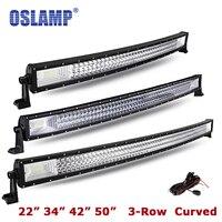 Oslamp 22 34 42 Curved LED Light Bar 50 Combo Beam Triple Row Led Work Light for Car SUV ATV RV PickUp Truck Led Bar Offroad