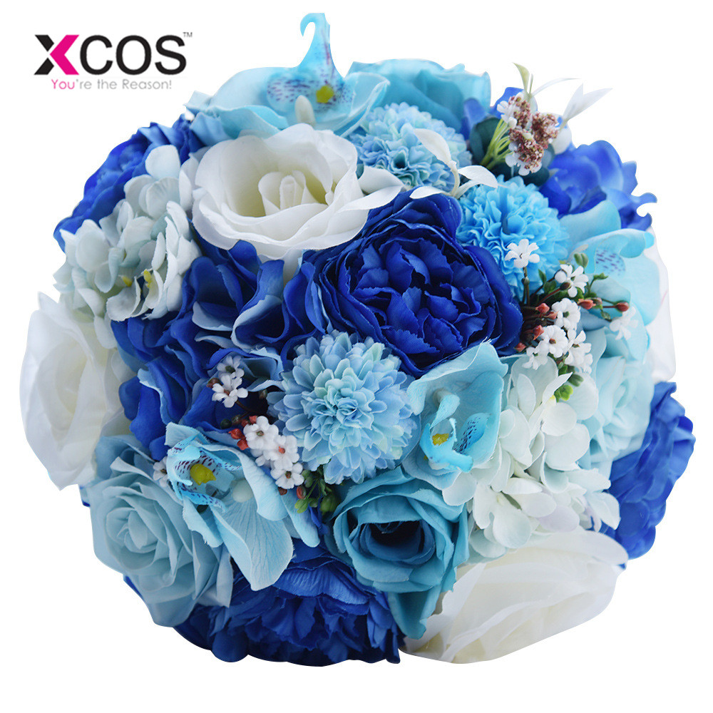 Xcos 2018 Bridal Bouquet For Wedding Decoration Blue And White