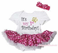 It's My 1ST BIRTHDAY White Body Hot Pink Polka Dots Niñas Bebé Vestido NB-18M
