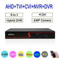 Hi3521D XMeye Red Panel 4CH 8MP Hybrid Coaxial WIFI 6 in 1 XVI TVI CVI NVR AHD CCTV DVR Surveillance Video Recorder FreeShipping