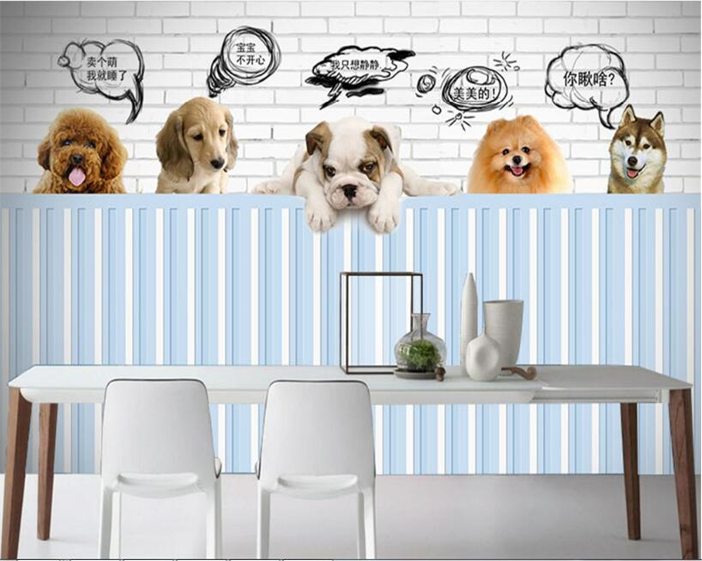 Fotobehang 6 Meter Breed.Us 8 85 41 Off Beibehang High Definition Fashion Can Be Scrubbed Wallpaper Cute Pet Dog Background Wall Decorative Painting 3d Wallpaper Tapety In