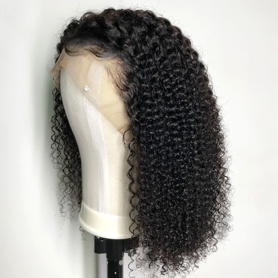 Remy Brazilian Kinky Curly Lace Front Human Hair Wigs For Black Women Lace Front Wigs With Baby Hair PrePluck Bleached Knots