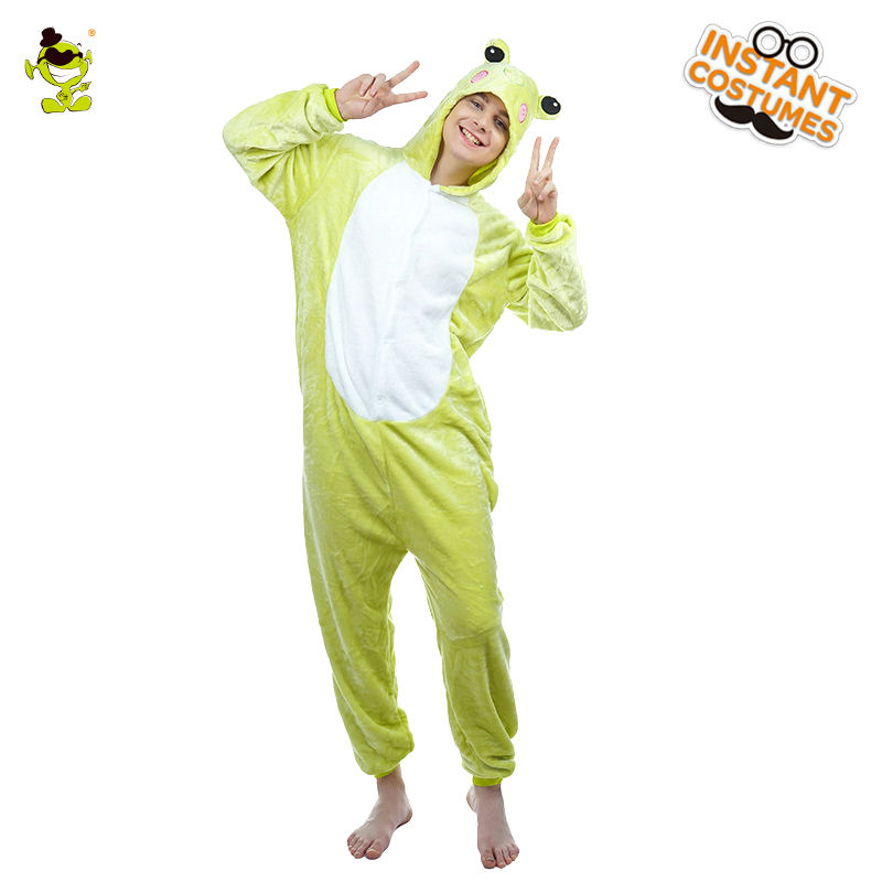 Adult Men's  Animal Frog Pajamas Costume Fancy Dress Sleepwear Jumpsuit Role Play Comfortable Cute  Frog Cartoon Costumes