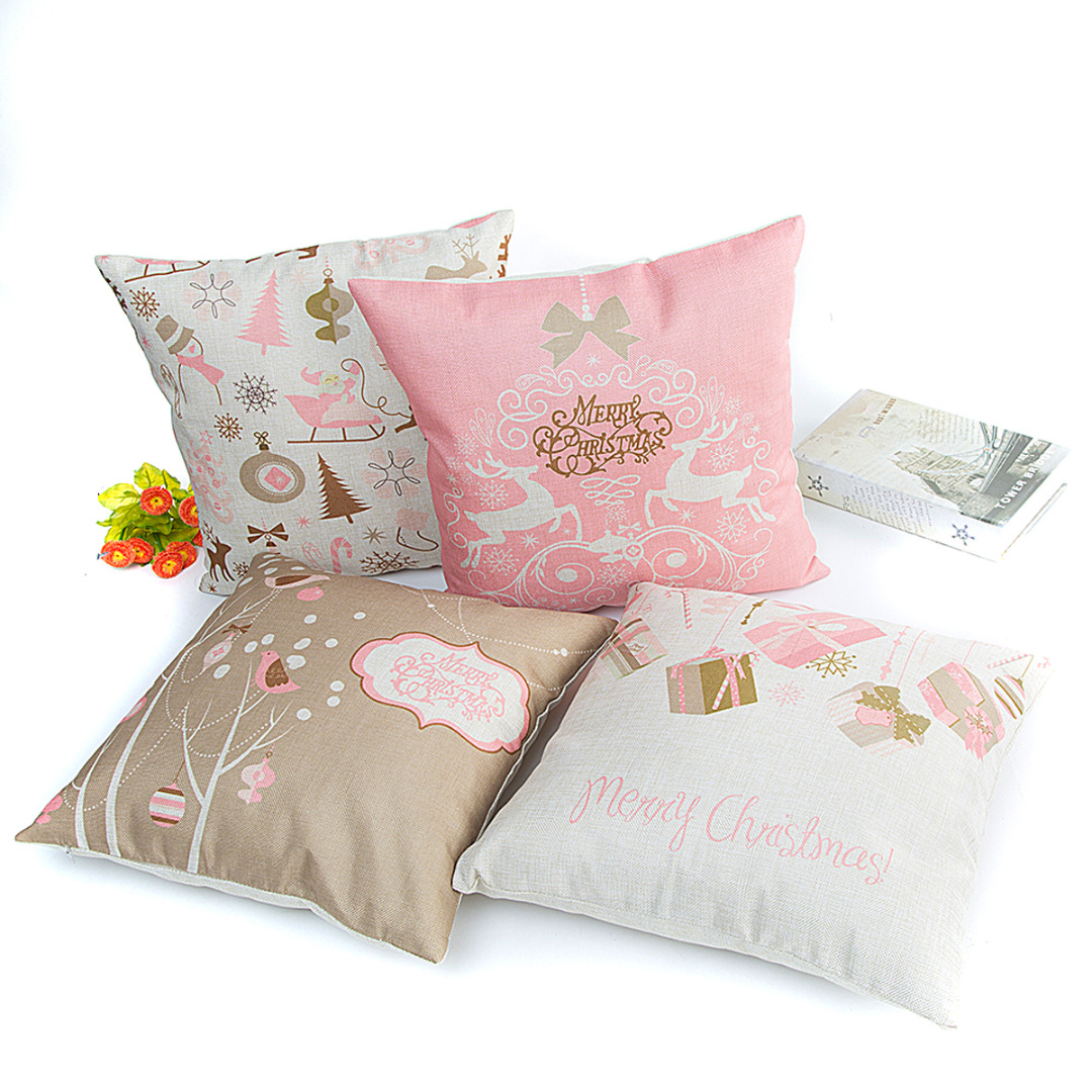 Independent Mayitr Soft Christmas Pillow Case Pink Series Linen Throw Pillow Cover Square Cushion Cover For Bedroom Sofa Home Decoration Home & Garden Cushion Cover