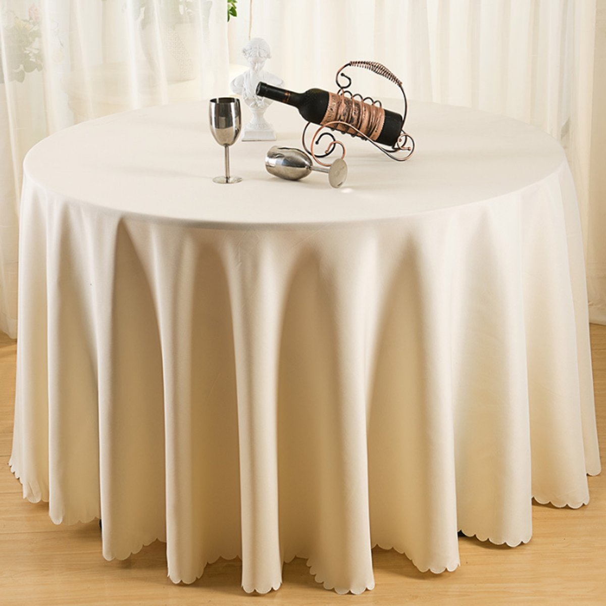 Polyester Round Tablecloth Wedding Party Banquet Dining Table Cloth Covers Runner Home Textiles Accessories 4 Sizes Beige