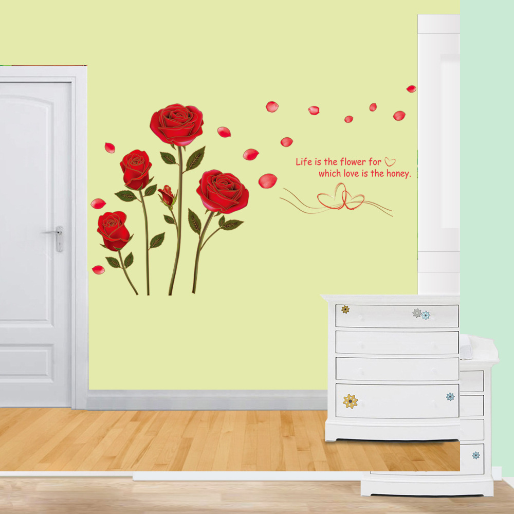 Retro Live is the Flower Red Rose Floral Wall Stickers ART Romance ...
