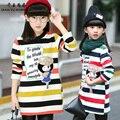 QYSZ Alta Lã de Algodão Listrado Vestido De Princesa Dos Desenhos Animados Vestido De Mangas Longas de Inverno Meninas 3-14Years Velho Crianças Esporte Vestido