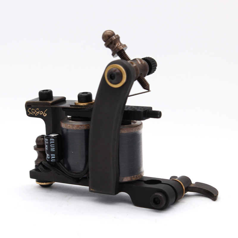 Professional Hot Sale High Quality Liner Shader Copper Handmade Tattoo Machine 12 Import Wrap Green Tattoo Gun Beginner Practice недорого