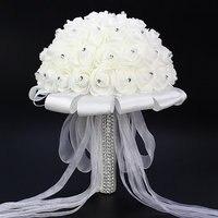 1 X Artificial Rose Wedding Bridal Bouquet White Satin Crystal Wedding Bouquets Artificial Foam Flowers