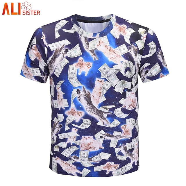 e67c3a6fae7 Alisister Galaxy Cat US Dollar T Shirt Men Women Plus Size Funny Tee Shirt  Homme De Marque Summer Harajuku Short Sleeve Tee