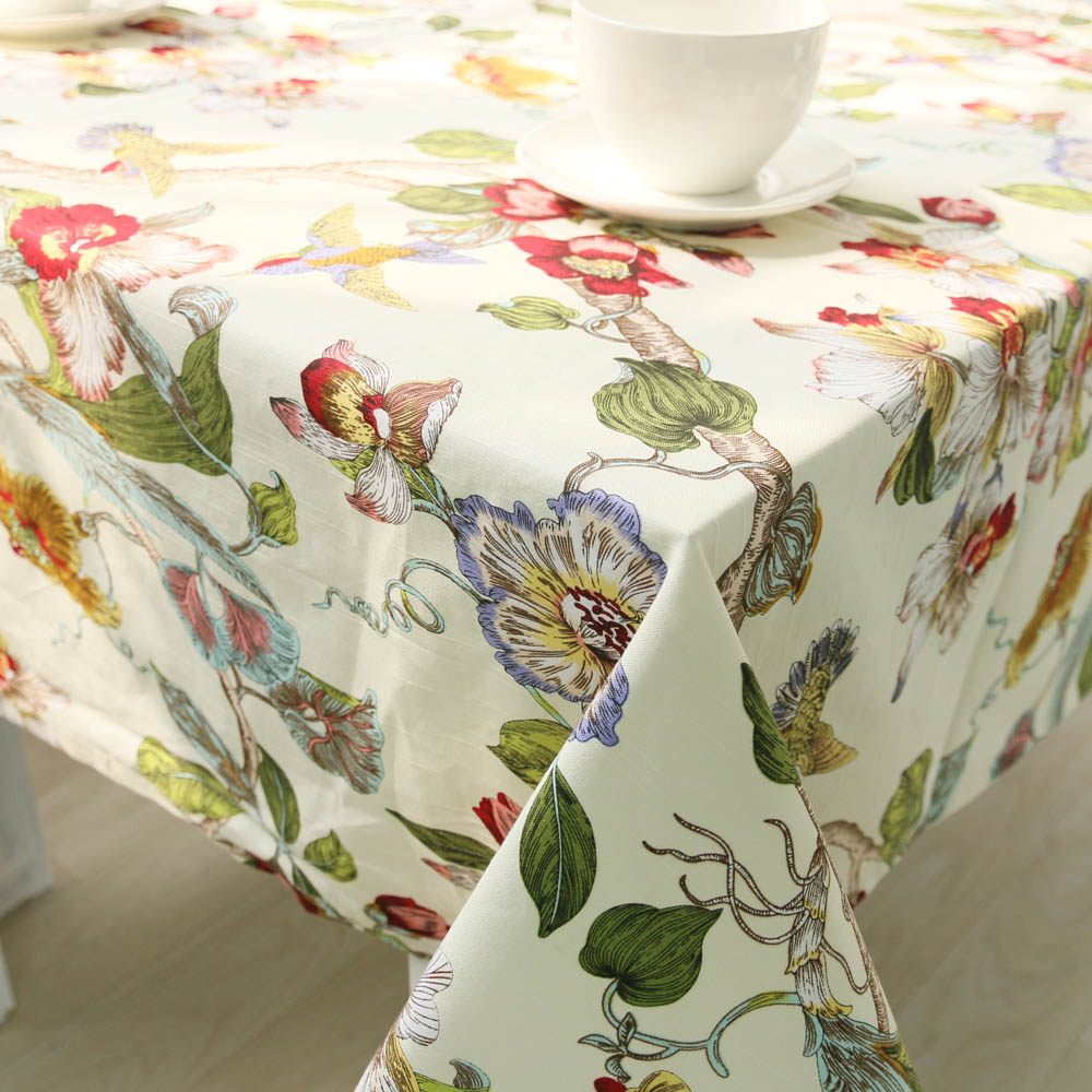 Hot Sale 4 Design Pastoral Floral Home Kitchen Table Cloth Wedding Party Table Cover Multi Size Hotel Coffee Tablecloth Cotton