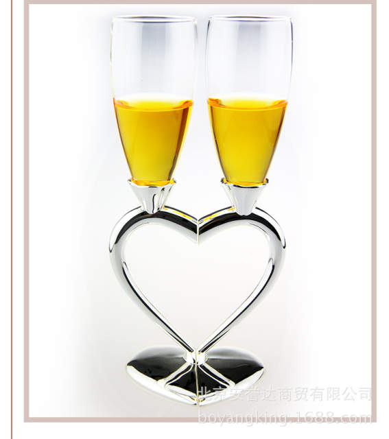 New Heart Design Silver Plated Wedding Toasting Flutes Champagne