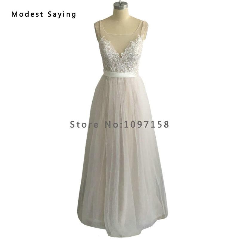 Elegant Ivory A Line Lace font b Wedding b font Dresses 2017 with Buttons vestidos de