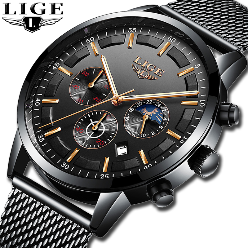 LIGE New Men Stainless Steel Mesh Quartz Watch Waterproof Watch Multi-function Chronograph Date Display Wristwatch Black Relogio