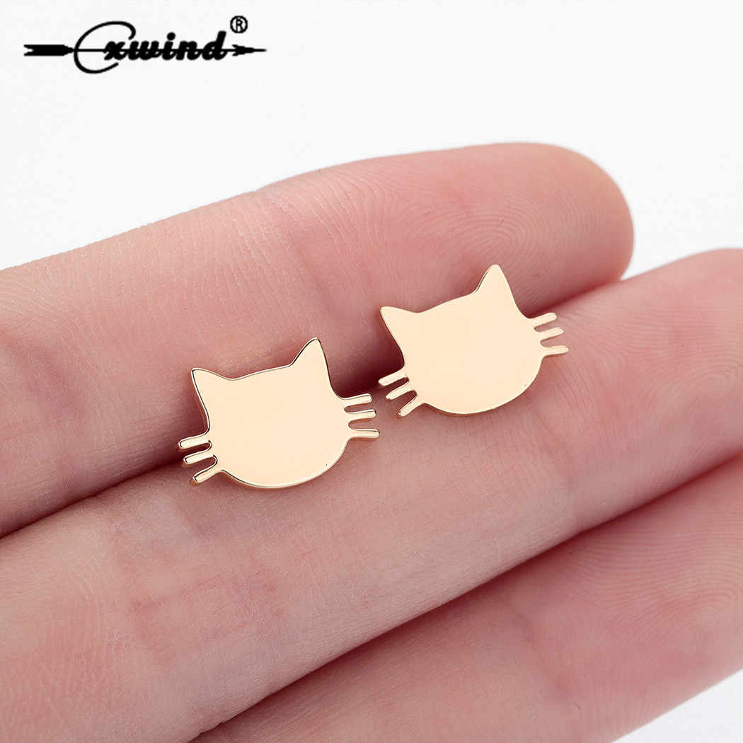 Cxwind Stainless Steel Cat Stud Earrings for Women Kids Simple Jewelry Kitty Cat Earings Accessories boucle d'oreille femme