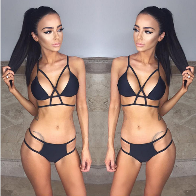 Womens Bikini Set Two-Piece Suits Swimwear Bandage Push up Padded Swimwear Swimsuit Bathing Beachwear