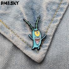 DMLSKY Cute Plankton Funny Brooch Metal badge Women and Men Enamel Pins for Clothes Bags Shirt Pin Gifts M3041