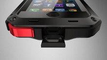 Lujo doom armor caja del teléfono celular del Metal De Aluminio a prueba de Choque de Tierra A Prueba de agua 4 para iphone 4 4s 5 5c 5s se 6 plus + templado vidrio