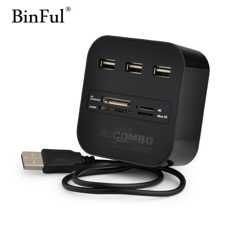 BinFul High Speed USB Hub 2.0 3 Ports With Card Reader Mini Hub USB Combo All In One USB Splitter Adapter For PC Laptop Computer
