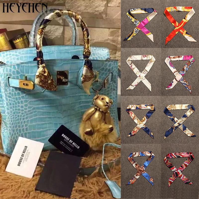 40 Color Women Foulard Fashion Bag Scarf Skinny Small Ribbon Head Hair Handle Scarf Luxury Decoration Tie Multifunction 4*100cm