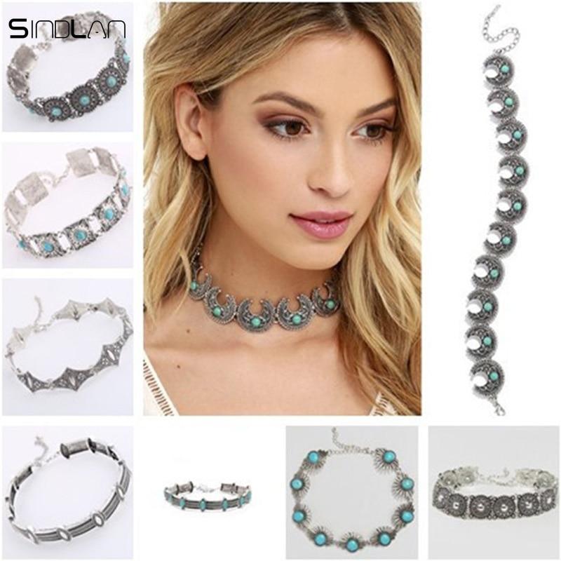 New Fashion Vintage Jewelry Boho Metal Collar Bohemia Blue Resin Stone Moon Geometry Retro Metal Wide