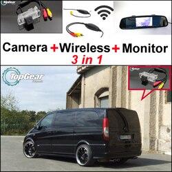 3 in1 specjalny widok z tyłu kamera Wifi + bezprzewodowy odbiornik + lustro Monitor łatwy System do parkowania dla Mercedes Benz MB valente