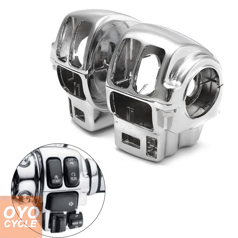 For Harley Touring Electra Glide Road Glide Road King FLTRH FLHTCUTG Switch Housing Covers Motorcycle Parts CHROME 5 75 5 3 4 chrome headlight housing bucket for harley electra glide bad boy