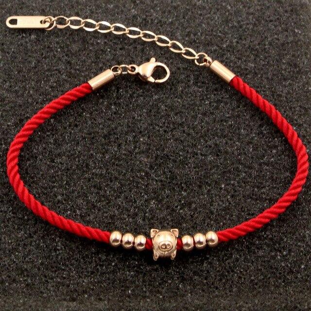 2019hot ouro bonito porco zodíaco 6 contas corda vermelha em ouro rosa pulseira de transporte das crianças porco bonito mulher pulseira jóias ajustável