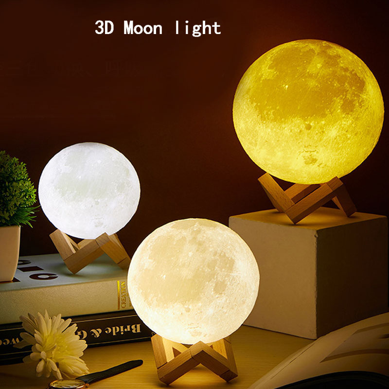 Desk Lamp Night Light Table Light 3d Print Moon Lamp Dimmable Touch 16 Colors Usb Bedroom Decoration Birthday Christmas Gifts