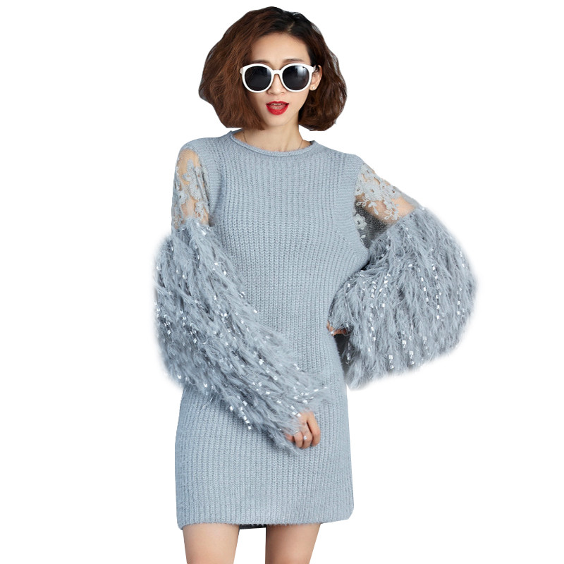 2018 Autumn Winter Fur Spliced Long Sleeves Knitted Sweaters Dress Women New Fashion Clothing Pullovers Gray AA498 2017 winter new clothes to overcome the coat of women in the long reed rabbit hair fur fur coat fox raccoon fur collar