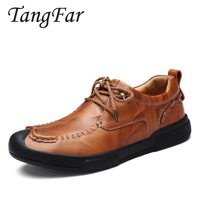 Men's Genuine Leather Casual Shoes Handmade Loafers For Male Men Waterproof Flat Driving Shoes Flats high quality genuine leather men shoes lace up casual shoes handmade driving shoes flats loafers for men oxfords shoes