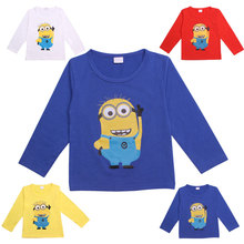 Boys T-Shirt Minions Long Sleeve T-Shirts For Girls Boys Tops Kids Tees Children's Clothing Baby Boy Girl Clothes Minion T Shirt