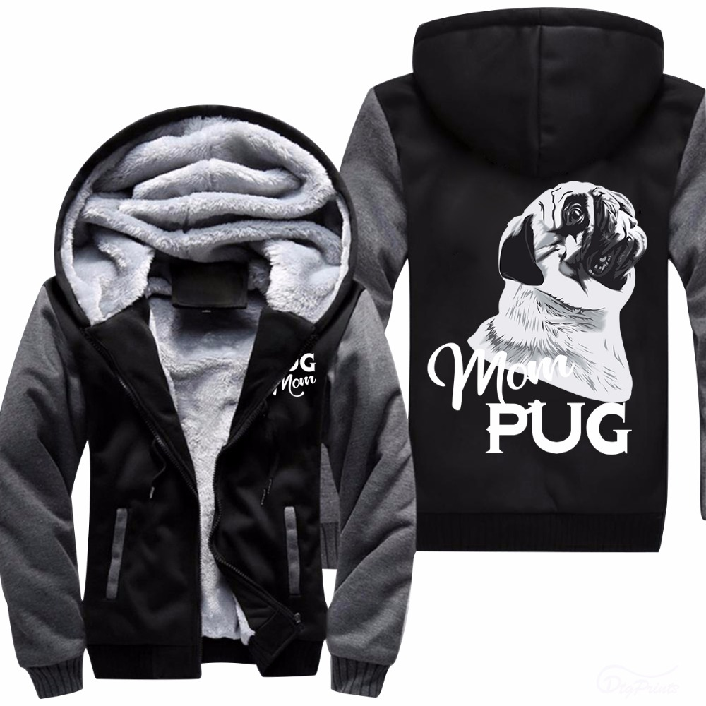 Men's 2018 Spring White Printed Long Sleeve Hoodies Fashion Zippers Hooded Pug Moon print Big Pocket Sweatshirt US size