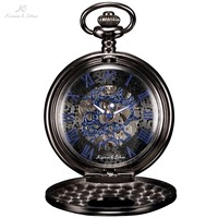KS Antique Skeleton Blue Roman Numbers Dial Black Alloy Case Mechanical Hand Wind Male Necklace Clock