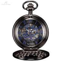 KS Antike Skeleton Blau Römischen Ziffern Zifferblatt Schwarz Legierung Fall Mechanische Hand Wind Lange Fob Kette Uhr Männer Taschenuhr /KSP032