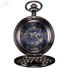 KS Antiguo Esqueleto Azul Números Romanos Dial Negro Caja de la Aleación Collar de Reloj de Bolsillo de Los Hombres mecánicos Mano de Viento Hombres Reloj/KSP032