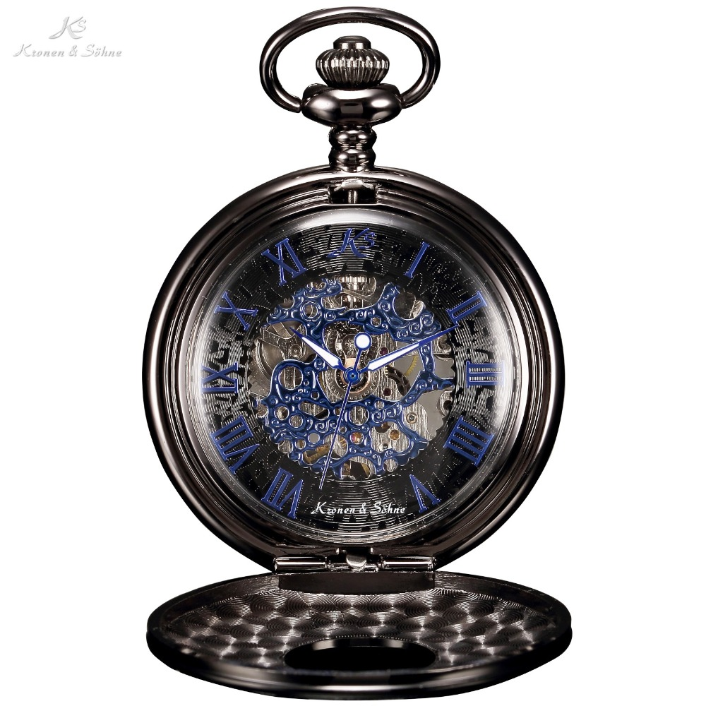 KS Antique Skeleton Blue Roman Numerals Dial Black Alloy Case Mechanical Hand Wind Long Fob Chain Clock Men Pocket Watch /KSP032
