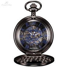 KS Antique Skeleton Blue Roman Numerals Dial Black Alloy Case Mechanical Hand Wind Long Fob Chain Clock Men Pocket Watch /KSP032