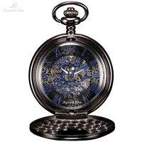 KS Antique Skeleton Blue Roman Numbers Dial Black Alloy Case Mechanical Hand Wind Male Necklace Clock