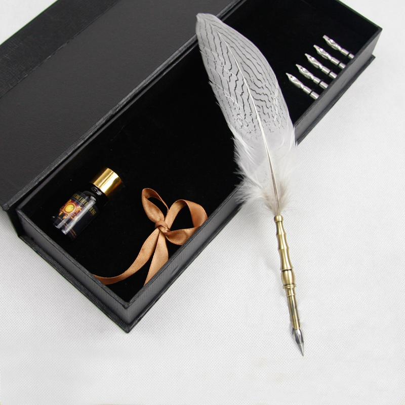 Beautiful Natural Feather Antique Dip Pen Set with 1 Pen Holder 1 Gift Box 1 ink and 5 Nibs цена и фото