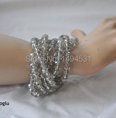 Gros bijoux de perles Haute Couture mariage lumière vison cristal Multi brin Bracelet demoiselles d'honneur cadeau-XZN145