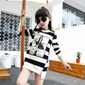 Girls autumn new clothes for Children's long sleeve T-shirt tops Big girls fashion stripe O-Neck long T-shirt cotton blouse
