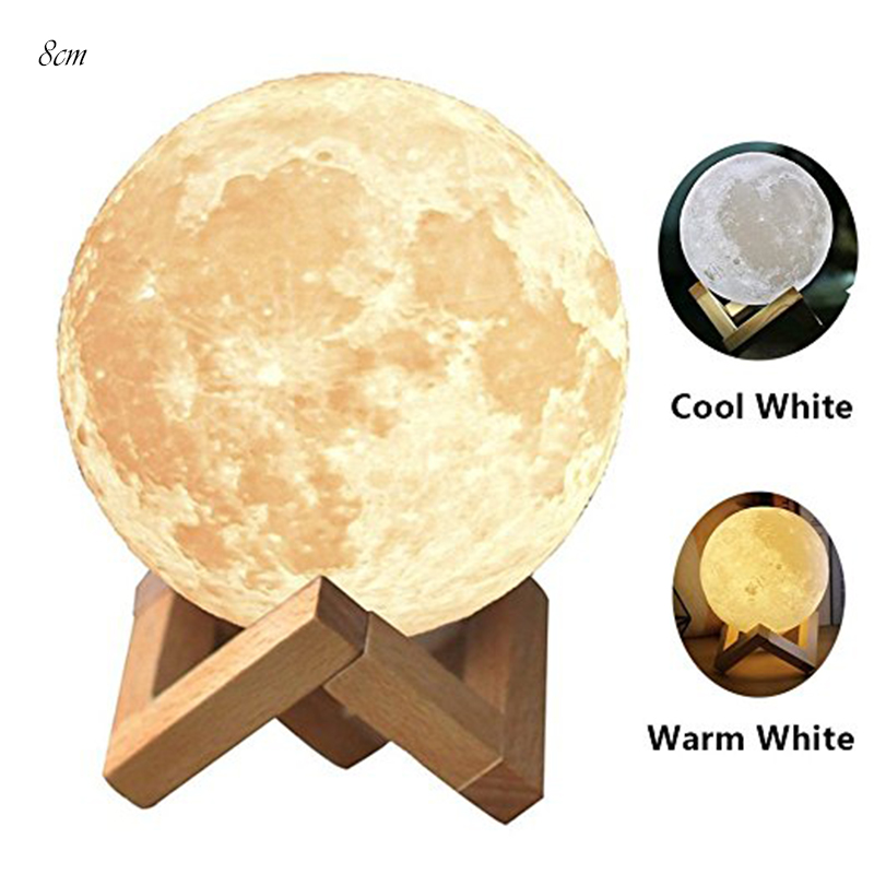 3D Moonlight Rechargeable LED Night Light Moon Lamp 2 colors Change Touch Switch for Creative Birthday Gifts 3d pop up the god of wealth creative gifts for birthday post card greeting cards holiday 1411r