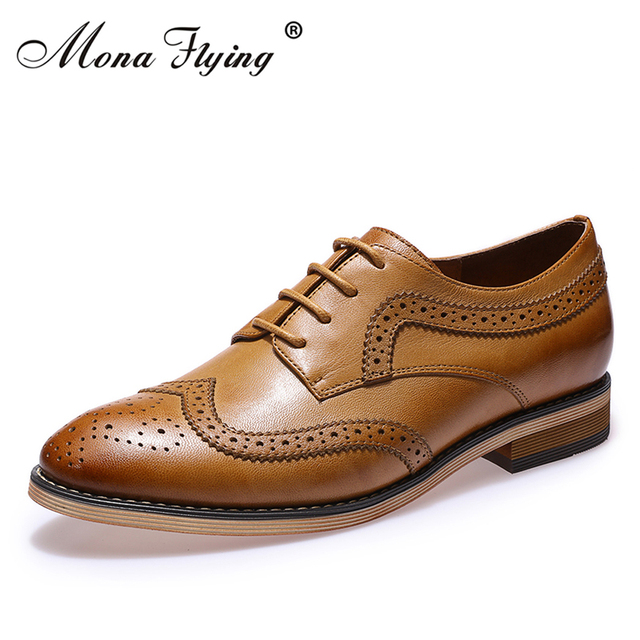 514ebac1ded Mona Flying Women's Oxfords Leather Perforated Lace-up Oxfords Shoes For  Women Wingtip Brougue for Women Handmade Shoes B098-1