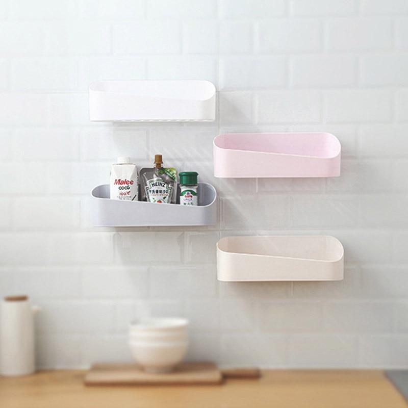 Bathroom Shelf Shampoo Holder Toothpaste Toothbrush Geometry Racks Double Sucker Storage Rack for Kitchen Tray
